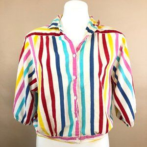 70s Vintage Rainbow Half Sleeve Button Up Top L